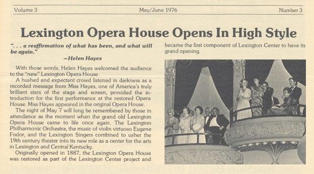 News article Lexington Opera House Opening